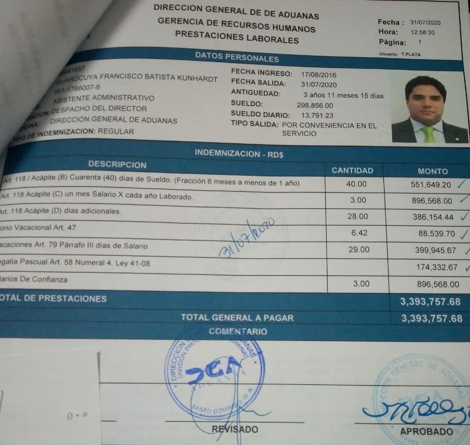Photo of A solo días para salir del poder asistente del director de Aduanas es liquidado por RD$ 3,393,746